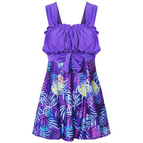 Shoulder Strap Backless Padded Ruffle Leaf Print Mid Waist Two Piece Women Tankini Set - PURPLE IRIS L