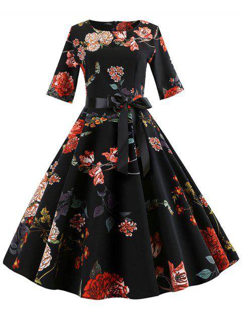 Printing Flowery with Belt Dress - NATURAL BLACK L