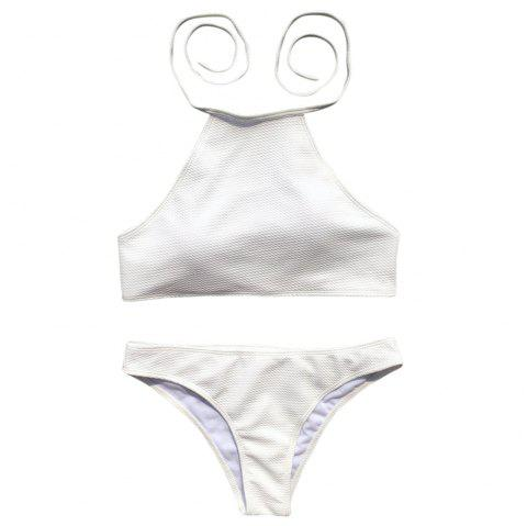 Halter Neck Backless Padded Solid Color Low Waist Sexy Women Bikini Set - WHITE S