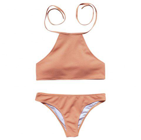 Halter Neck Backless Padded Solid Color Low Waist Sexy Women Bikini Set - ORANGE PINK S