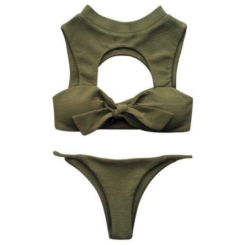 Stand Collar Sleeveless Padded Cut Out Solid Color Low Waist Women Bikini Set - ARMY GREEN M