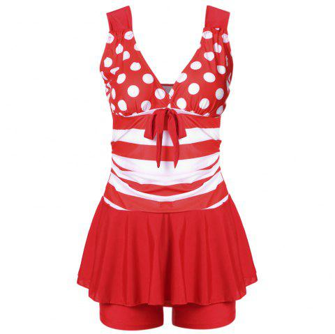 Plunge Neck Backless Padded Polka Dot Stripe Bowknot Swimsuit Mid Waist Women Tankini Set - RED L