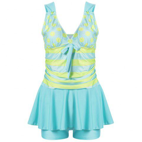Plunge Neck Backless Padded Polka Dot Stripe Bowknot Swimsuit Mid Waist Women Tankini Set - LIGHT AQUAMARINE M