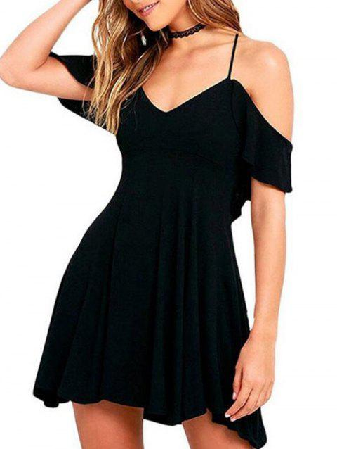 Woman's Sexy Short Sleeve Dress - BLACK XL
