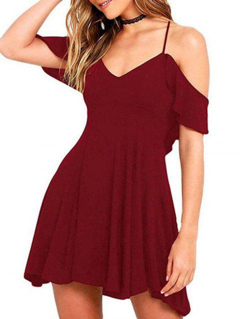 Woman's Sexy Short Sleeve Dress - RED WINE L