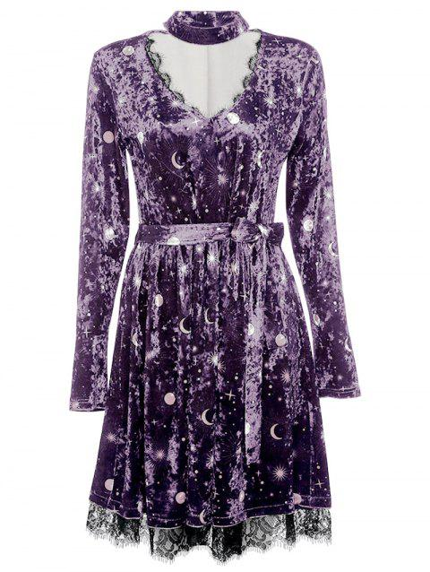 Trendy V Neck Long Sleeve Choker Spliced Lace Belted Moon Print Women Velour Dress - PURPLE XL