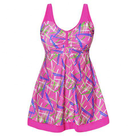 Sexy Shoulder Strap Sleeveless Colorful Print Ruched Padded Plus Size Women Tankini Set - NEON PINK 5XL