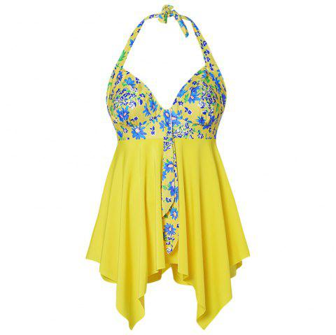 Plus Size Floral Print Halter Ruffles Board-shorts Two Pieces Women Swimwear - YELLOW 3XL