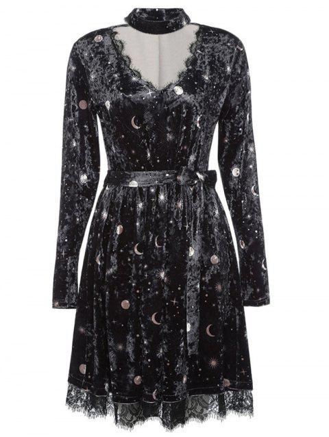 4d1dd09a6bc47 Trendy V Neck Long Sleeve Choker Spliced Lace Belted Moon Print Women  Velour Dress - BLACK