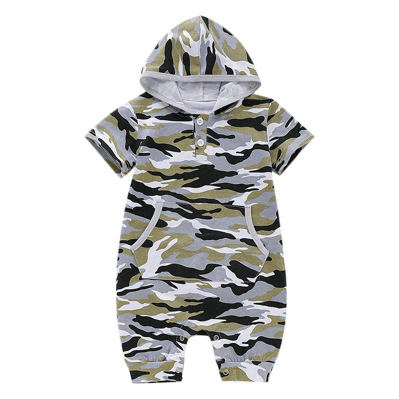 AD0011 Baby Boys Girls Infant Bodysuit Romper Jumpsuit Short Sleeve Hood - ACU CAMOUFLAGE 18-24MONTH(90)