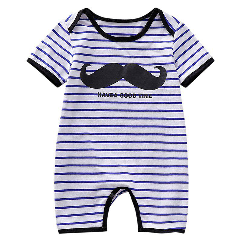 AD0012 Baby Boys Girls Bodysuit Romper Jumpsuit Stripe Printed Short Sleeve - NAVY BLUE 18-24MONTH(90)