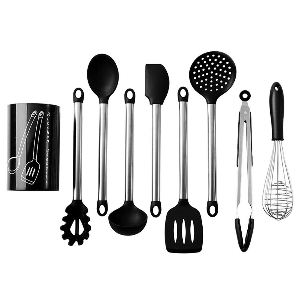 9PCS Nonstick Silicone Stainless Steel Cooking Baking Utensil Turner Tongs Spatula Spoon Kitchen Tools - Blanc