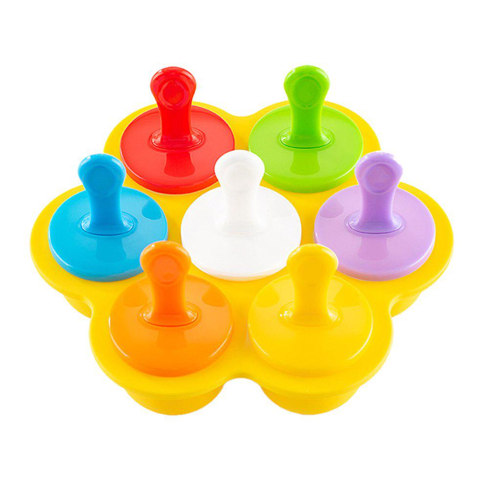 7 Holes Silicone Mini Ice Pops Mold Baby DIY Food Supplement Tool - multicolor YELLOW BASE