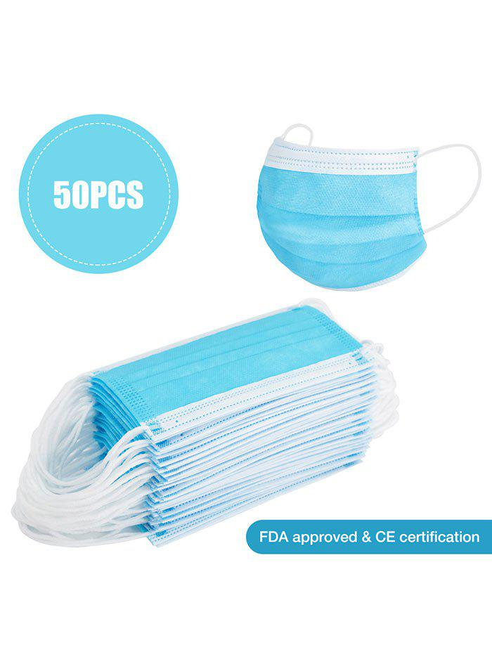 50PCS 3-layer Face Masks Disposable Protection With FDA And CE Certification Dustproof Anti-bacteria - DEEP SKY BLUE