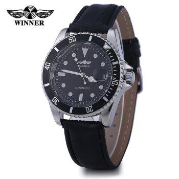 Winner W098 Men Mechanical Watch Analog Leather Strap Date Display