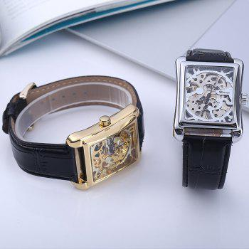Winner W09 Men Mechanical Hollow Out Watch Leather Band  Life Water Resistance - SILVER