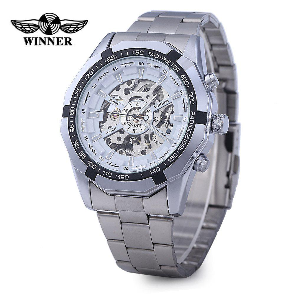 Winner W340 Men Hollow Automatic Mechanical Watch Stainless Steel Band - WHITE