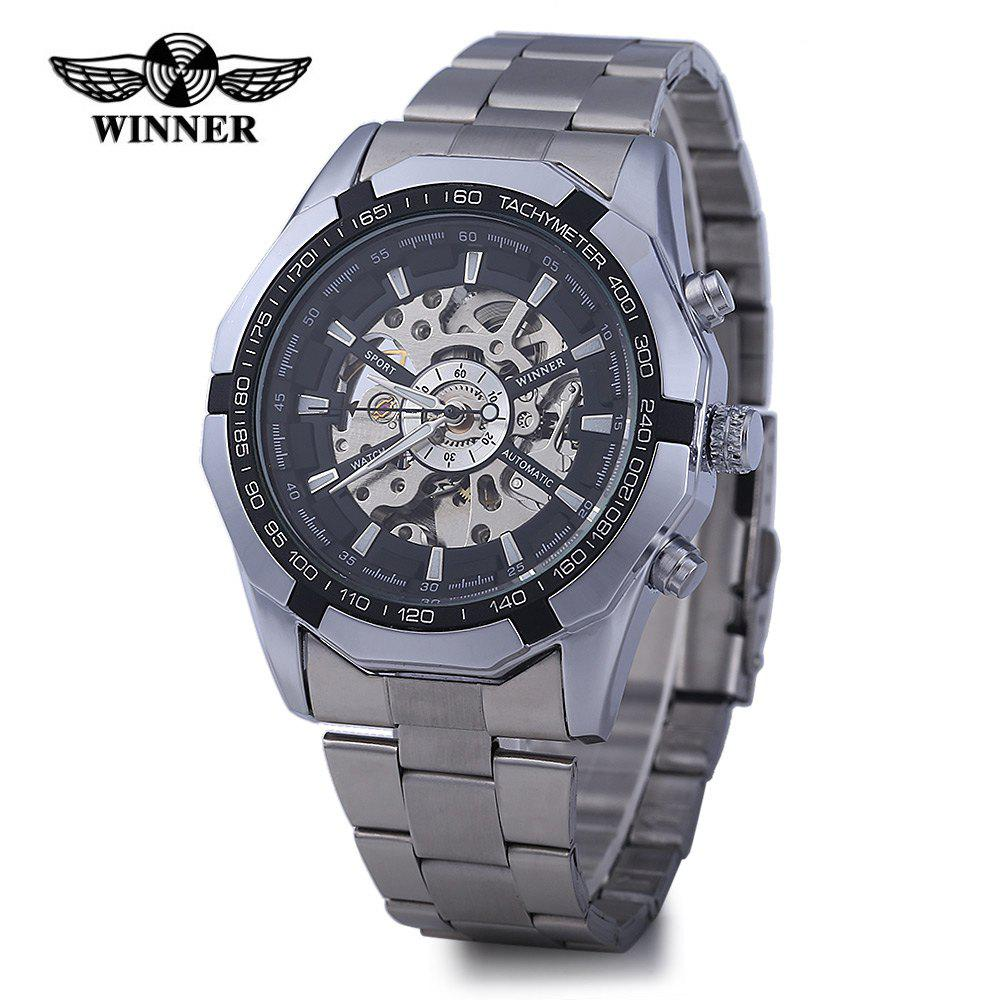 Winner W340 Men Hollow Automatic Mechanical Watch Stainless Steel Band -  BLACK
