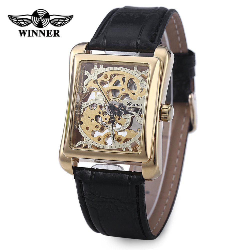 Winner W09 Men Mechanical Hollow Out Watch Leather Band  Life Water Resistance - GOLDEN