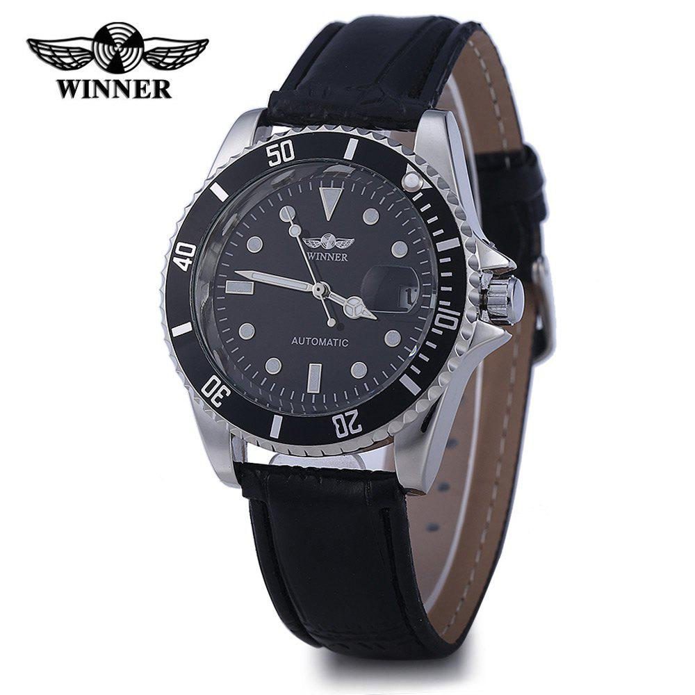 Winner W098 Men Mechanical Watch Analog Leather Strap Date Display - BLACK