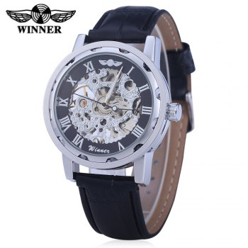 Winner W001 Men Hollow Mechanical Watch with Leather Band Roman Scale - BLACK SILVER BLACK SILVER