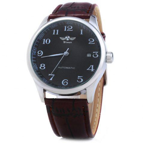 Winner W062 Men Automatic Mechanical Watch with Leather Band Date Display - BLACK BROWN