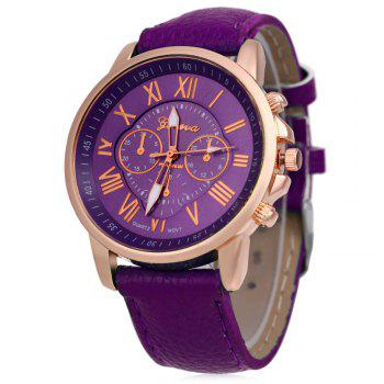 Men Women Quartz Watch Leather Band Decorative Small Sub-dials Roman Numeral Scales - PURPLE PURPLE
