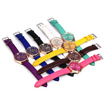 Men Women Quartz Watch Leather Band Decorative Small Sub-dials Roman Numeral Scales -  PURPLE