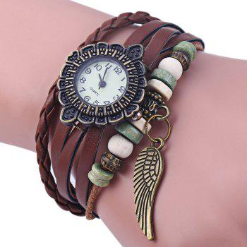 Retro Women Woven Bracelet Quartz Watch Leather Strap Wing Pendent - COFFEE COFFEE