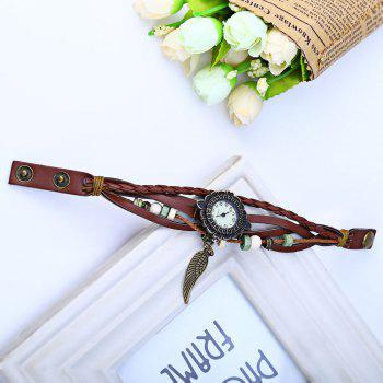 Retro Women Woven Bracelet Quartz Watch Leather Strap Wing Pendent -  COFFEE
