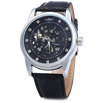Winner W045 Men Hollow Automatic Mechanical Watch with Leather Band Rhinestone Scales - BLACK SILVER BLACK SILVER