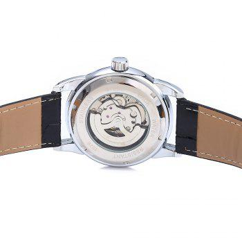 Winner W045 Men Hollow Automatic Mechanical Watch with Leather Band Rhinestone Scales - BLACK SILVER