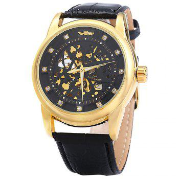 Winner W045 Men Hollow Automatic Mechanical Watch with Leather Band Rhinestone Scales - BLACK GOLDEN BLACK GOLDEN