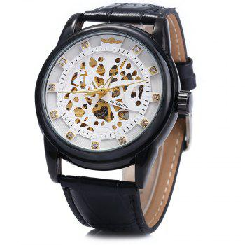 Winner W045 Men Hollow Automatic Mechanical Watch with Leather Band Rhinestone Scales - WHITE BLACK WHITE BLACK