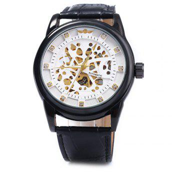 Winner W045 Men Hollow Automatic Mechanical Watch with Leather Band Rhinestone Scales - WHITE BLACK