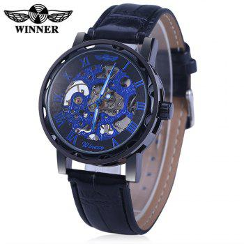 Winner W001 Men Hollow Mechanical Watch with Leather Band Roman Scale - BLACK BLUE BLACK BLUE