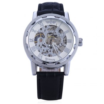 Winner W001 Men Hollow Mechanical Watch with Leather Band Roman Scale - WHITE SILVER