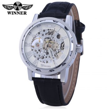 Winner W001 Men Hollow Mechanical Watch with Leather Band Roman Scale - WHITE SILVER WHITE SILVER