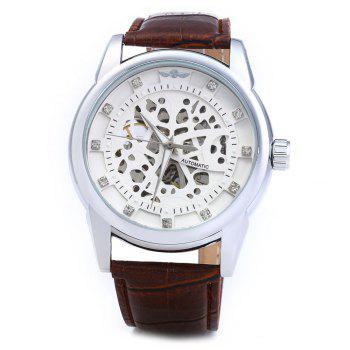 Winner W045 Men Hollow Automatic Mechanical Watch with Leather Band Rhinestone Scales - WHITE SILVER