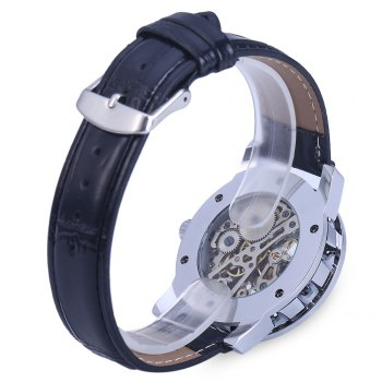 Winner W001 Men Hollow Mechanical Watch with Leather Band Roman Scale - BLACK BLUE