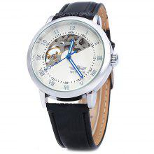 Winner W032 Men Fan-shaped Hollow Mechanical Watch with Leather Band Arabic Roman Numeral Scales