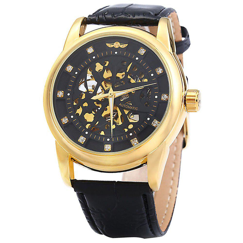 Winner W045 Men Hollow Automatic Mechanical Watch with Leather Band Rhinestone Scales - BLACK GOLDEN