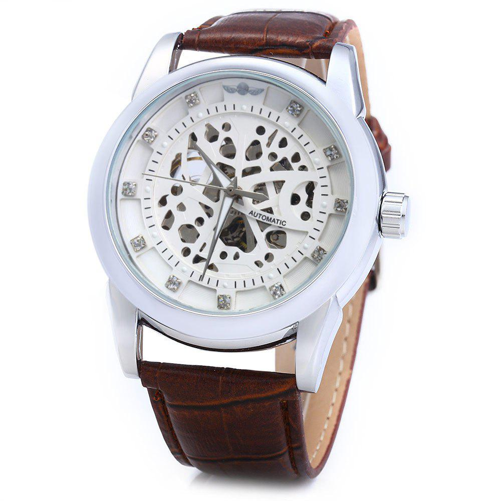 Winner W045 Men Hollow Automatic Mechanical Watch with Leather Band Rhinestone Scales gucamel automatic mechanical watch hollow out design genuine leather band for men