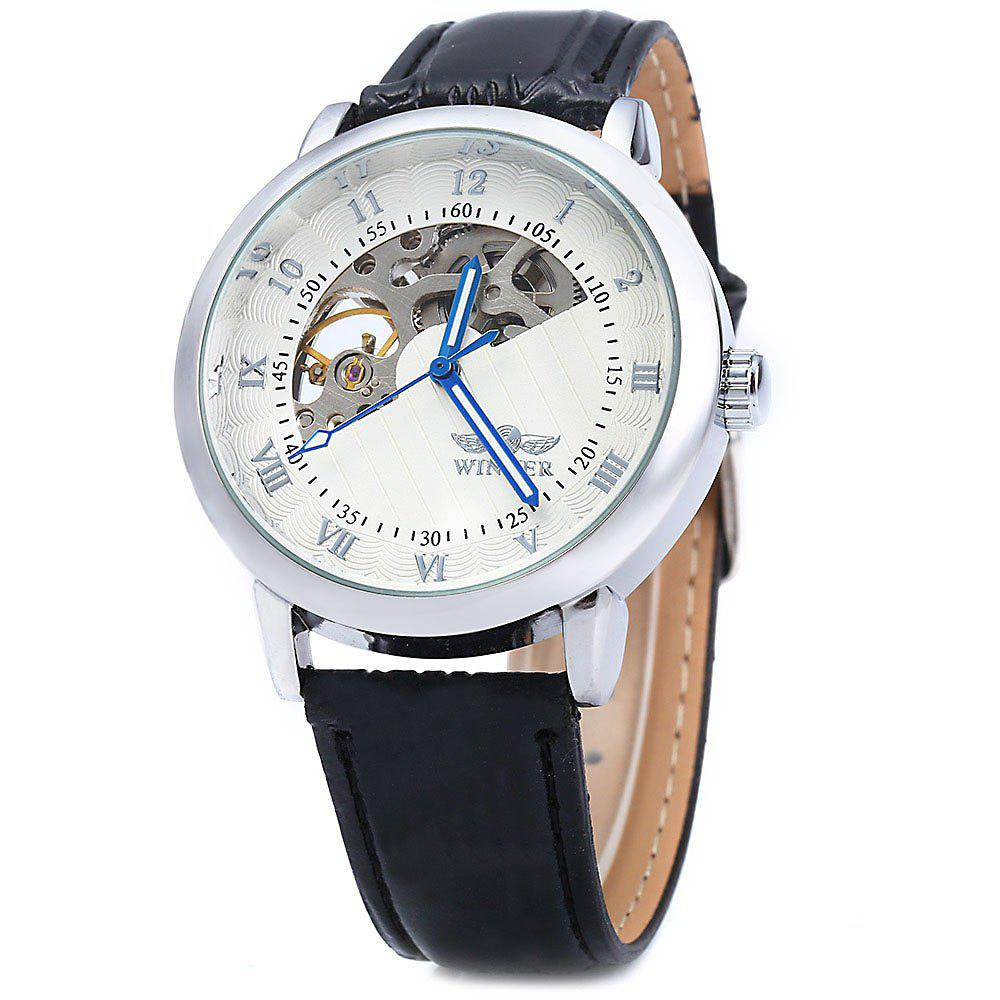 Winner W032 Men Fan-shaped Hollow Mechanical Watch with Leather Band Arabic Roman Numeral Scales - WHITE