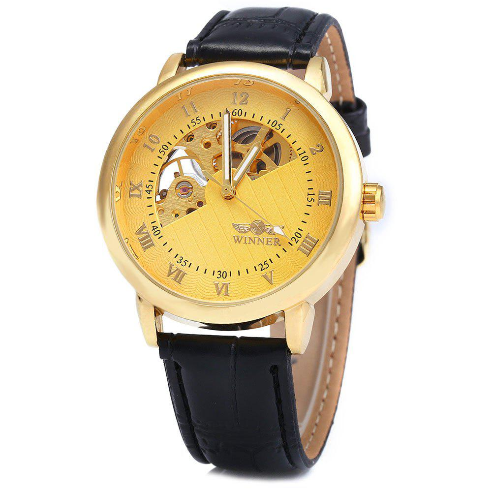 Winner W032 Men Fan-shaped Hollow Mechanical Watch with Leather Band Arabic Roman Numeral Scales - GOLDEN
