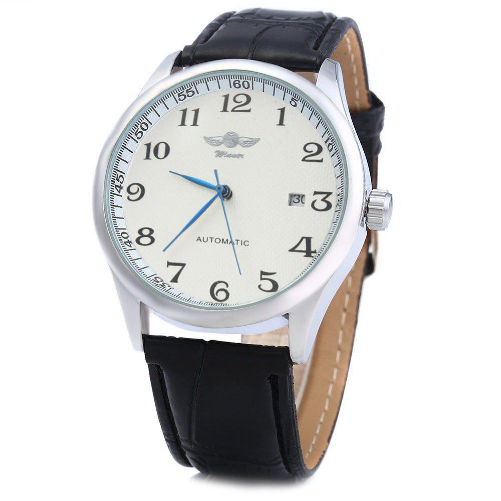 Winner W062 Men Automatic Mechanical Watch with Leather Band Date Display - WHITE BLACK