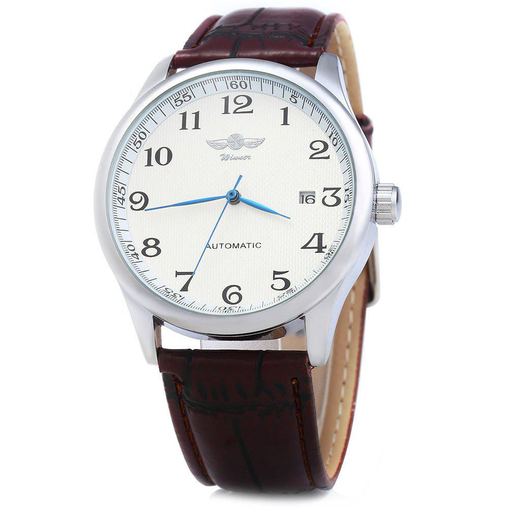 Winner W062 Men Automatic Mechanical Watch with Leather Band Date Display - WHITE BROWN
