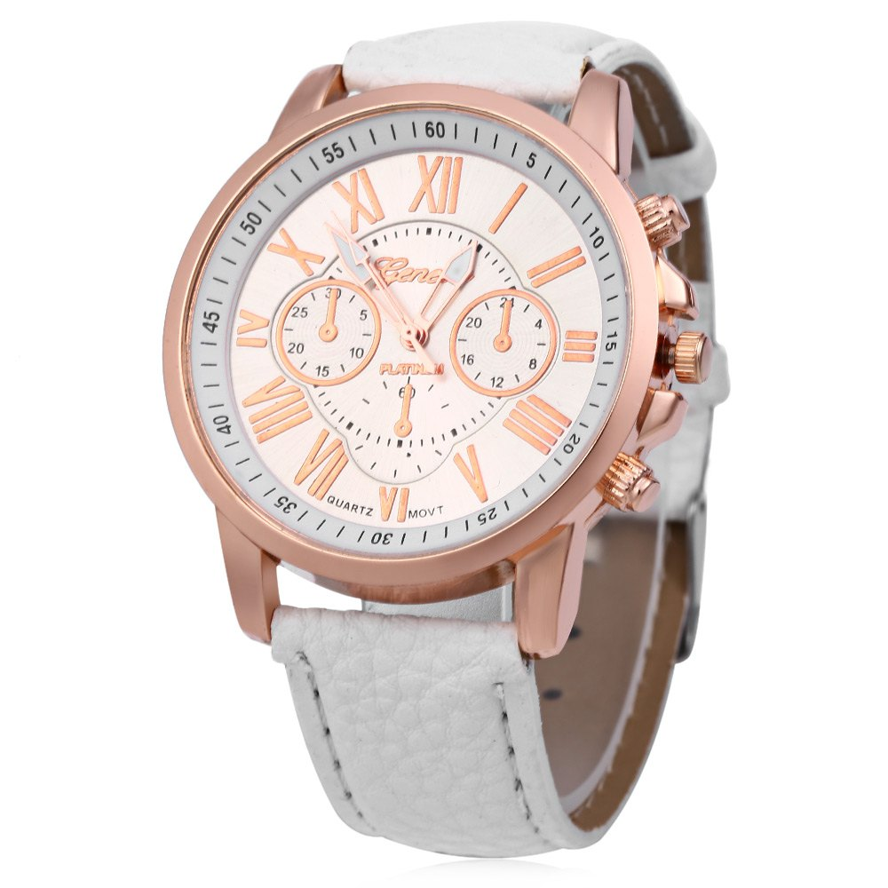 Men Women Quartz Watch Leather Band Decorative Small Sub-dials Roman Numeral Scales - WHITE