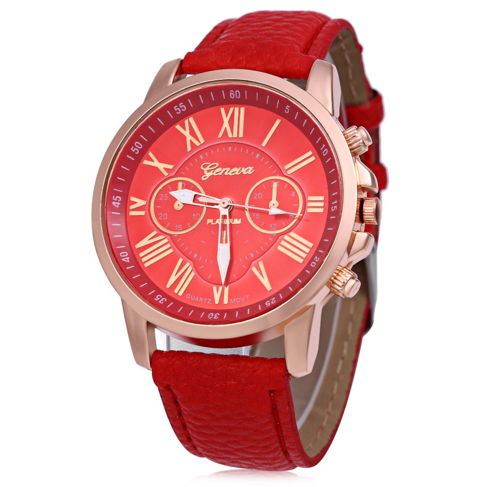 Men Women Quartz Watch Leather Band Decorative Small Sub-dials Roman Numeral Scales - RED