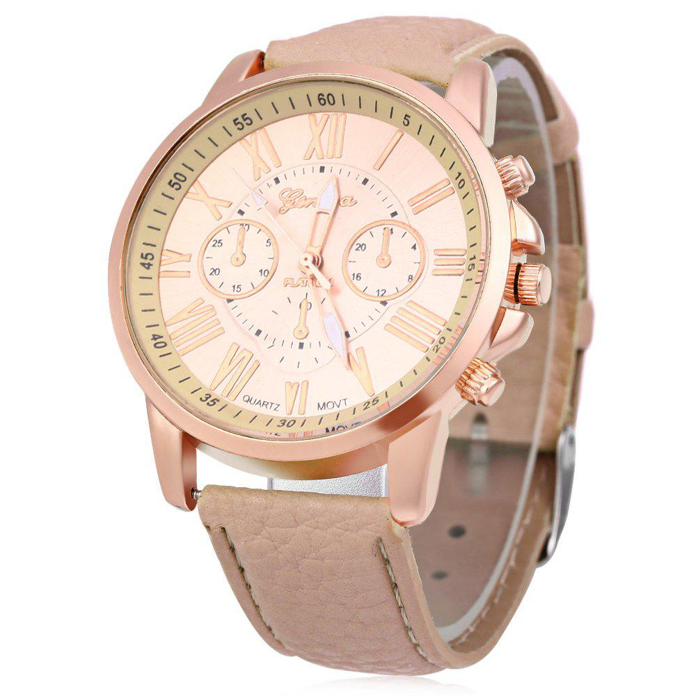 Men Women Quartz Watch Leather Band Decorative Small Sub-dials Roman Numeral Scales - BEIGE
